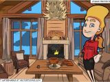 Drawing Room Cartoon Images A Woman Looking Happy and Wood Cabin Living Room Background
