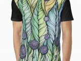 Drawing T Shirt Pattern Dandelions Hand Draw Ink and Pen Watercolor On Textured Paper by