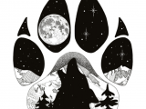Drawing Wolf Paw Prints Howl at the Moon Wolf Paw Print with Howling Wolf Inside and Mt