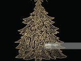 Drawing Xmas Tree Hand Drawn Golden Christmas Tree Vektorgrafik Getty Images