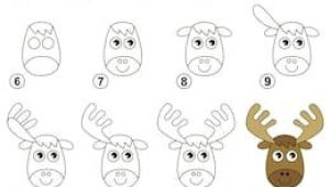 Drawings Easy to Copy Step by Step Raster Copy Visual Game for Kids How to Draw A Funny Elk Drawing