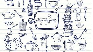 Drawings Of Big Hands Big Set Of Kitchen Utensils Sketches Hand Drawn with Ink Cups