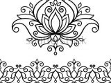 Drawings Of Flower Borders Vector Abstract oriental Style Flower Lotus Tattoo Design