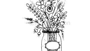 Drawings Of Flowers In A Jar Mason Jar Flowers Large Lo5261h Rubber Art Stamp Art