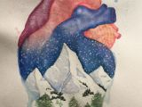Drawings Of Hands In A Heart Anatomical Heart and Winter Mountain Landscape Watercolor Painting