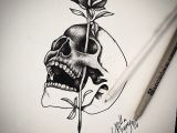 Drawings Of Skulls with Roses Skull Rose Ink Tattoo Drawings Tattoos Tattoo Sketches