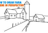 Easy 3 Dimensional Drawings How to Draw Farm Scene Fall Spring Scene In Three Point