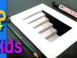 Easy 3d Drawings Step by Step 3d Drawing Cellar Stairs Step by Step Very Easy for Kids 3 D
