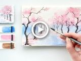 Easy Cherry Blossom Drawing Cherry Blossom Alley Easy Watercolor Tutorial Painting In
