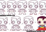 Easy Drawing Komiks How to Draw Cute Chibi Superman From Dc Comics In Easy Step by Step