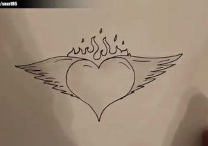 Easy Drawing Love Hearts How to Draw A Heart with Wings and Flames Youtube