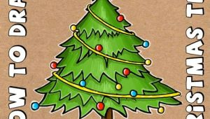 Easy Drawing Of Xmas Tree How to Draw A Cartoon Christmas Tree for Christmas with Easy Steps