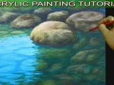 Easy Drawing Underwater How to Paint Shallow River with Reflections and Underwater Rocks In