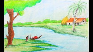 Easy Drawing Village Scene How to Draw A Village Scenery Step by Step with Oil Pastel Easy