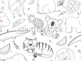 Easy Drawings Koala Simple Vector Pattern with Animals Cute Children S Wallpaper