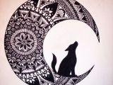 Easy Drawings Mandala Wolf In the Moon Black Ink Mandala Drawing Brusho Coloring Pics