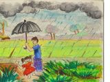 Easy Drawings Of Village How to Draw A Village Rainy Day Step by Step In Oil Pastel Youtube