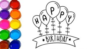 Easy Happy Birthday Drawings Happy Birthday Card Drawing Easy for Kids Learn Colors with
