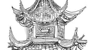 Easy Japanese Drawings Chinese Temple Drawing Illustration In 2019 Drawings Temple