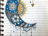 Easy Notebook Drawings Moon Sun Mandala Zentangle Blue Yellow My Sketchbook In 2019