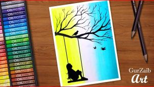 Easy Oil Pastel Drawing for Beginners Step by Step Girl On Swing with Birds Drawing for Beginners with Oil