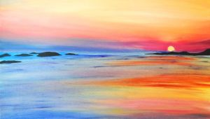 Easy Seascape Drawing How to Paint Sunrise and Sunset Request A Custom order and