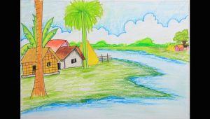 Easy Village Drawings Pencil How to Draw A Village Scenery Step by Step Easy Drawing