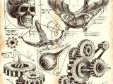 Engineering Drawing Cartoons Antique Engineering Drawings In Leonardo Da Vinci Style Drawings