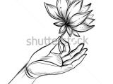 Flower Motifs Drawing Lord Buddha S Hand Holding Lotus Flower isolated Vector