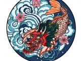 Flowers Drawing Circle Tattoo Design Koi Dragon with Cherry Blossom and Wave In Circle Koi