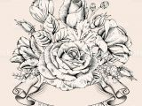 Free Drawing Of A Rose Vintage Luxury Card with Detailed Hand Drawn Flowers Blooming Rose