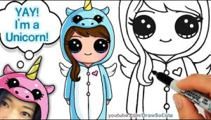 Girl In Unicorn Onesie Drawing How to Draw Cute Girl In Unicorn Onesie Easy Eachnow Com