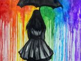 Girl Walking Drawing Walk Away Umbrella Art Rainbow Art Art Projects