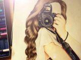 Girl with Brown Hair Drawing Brown Camera Color Desenhos Draw Garota Girl Lindo