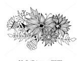 Graphic Drawings Of Flowers Doodle Bouquet Od Flowers and Leaves On White Background Template