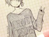 Hoodie Male Anime Drawings Cute Anime Drawing tootokki I Have issues Sweater Anime