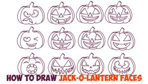 Jack O Lantern Drawing Easy Huge Guide to Drawing Cartoon Pumpkin Faces Jack O Lantern Faces
