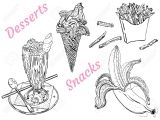 Line Drawing Of Hands Shaking Snacks and Desserts Milk Shake Ice Cream Banana French Fries