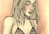 One Drawing Of A Girl Dae by Zyra Banez Aztec Tribal top Girl Drawing Pink Cream