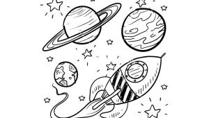 Planets Drawing Easy Doodle Space Planets Rocket Ship Stars Explore Vector