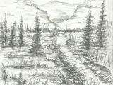 Plantation Drawing Easy Landscape Pencil Drawing Instant Download Artwork Mountain