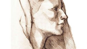 Renaissance Drawings Easy Veiled Woman Pencil Sketch Female Profile Drawing Of