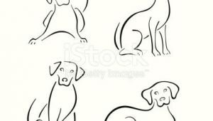 Simple Line Drawing Of A Dog Four Stylized Dogs On A White Background Easy Sketches Drawings