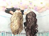 Sister Drawings Easy Best Friends Art Sisters Art Watercolor Painting Print