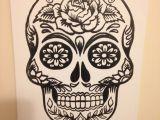Skull Drawing Canvas 11×14 Screen Printed Sugar Skull Canvas Acraftyarray Art Canvas