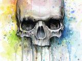 Skull Drawing Canvas Skull Watercolor Print Rainbow Skull Wall Art Skull Decor Colorful