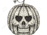 Skull Drawing for Pumpkin Skull Head Pumpkin Halloween Hand Pencil Drawing On Paper Stock