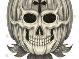 Skull Drawing for Pumpkin Skull Pumpkin Halloween Day Hand Pencil Stock Illustration Royalty