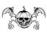 Skull Drawing for Pumpkin Skull with Halloween Pumpkin Tattoo by Hand Drawing Stock Vector Art