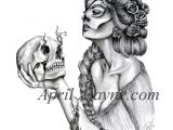 Skull Drawing for Tattoo Fanciful Woman and Skull Tattoo Drawings Tattoos Tattoo